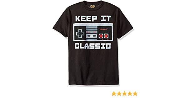 Amazon.com: Nintendo Little Boys Keep It Classic Controller Graphic T-Shirt, Black: Clothing