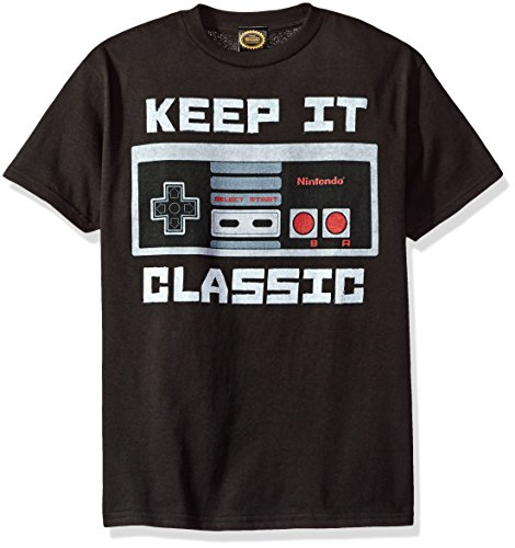 Nintendo Little Boys Kepp It Classic Controller Graphic T-shirt, black, YS