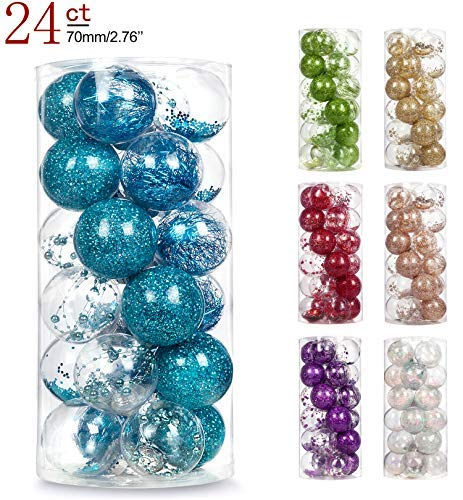 AMS 2.76/24ct Shatterproof Clear Plastic Christmas Ball Ornaments Decorative Xmas Balls Baubles Set with Stuffed Delicate Decoration (70mm Sky Blue)