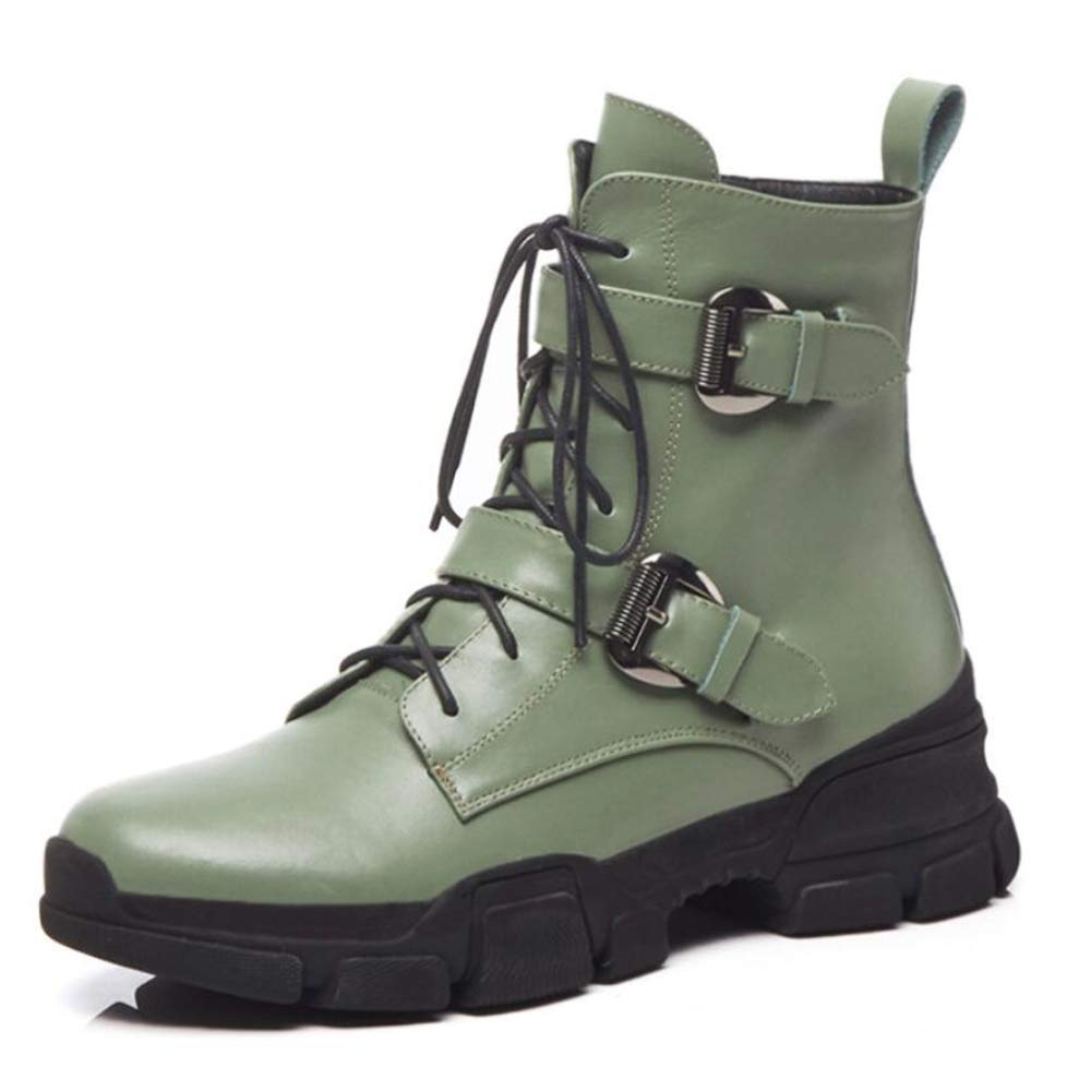 Green Women's Boots Autumn and Winter Casual Platform Belt Buckle Martin Boots Low Tube Cross Straps Women's Boots