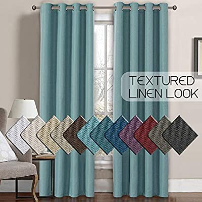 H.VERSAILTEX Linen Curtains Room Darkening Light Blocking Thermal Insulated Heavy Weight Textured Rich Linen Burlap Curtains for Bedroom/Living Room Curtain, 52 by 108 Inch - Eggshell Blue (1 Panel) - STANDARD SIZE: Sold per single panel in package, panel measures 52 inches wide by 108 inches long, each faux linen curtain panel has 8 gorgeous copper metal grommets, inner rim of grommet is 1 5/8 inch which fit the rod up to 1 1/2 inch, slides smoothly back and forth LIGHT BLOCKING: This elegant window panel is crafted from rich faux linen textured fabric, inner woven construction features natural blackout effect, definitely block out 85% or more sun light and prevent harmful UV ray, this opaque piece totally darken your room, reduce the noise and gives you 100% privacy ENERGY EFFICIENT: This magic window covering is perfect on thermal insulated, energy saving and balance the temperature. Efficiently prevents cold or heat transfer from outside, blocks drafts in cold months and keeps warm air out in the summer. Great for letting you sleep sweetly on weekend mornings and vacation days - living-room-soft-furnishings, living-room, draperies-curtains-shades - 51LRmPeacAL. SS400  -