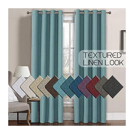 H.VERSAILTEX Linen Curtains Room Darkening Light Blocking Thermal Insulated Heavy Weight Textured Rich Linen Burlap Curtains for Bedroom/Living Room Curtain, 52 by 108 Inch - Eggshell Blue (1 Panel) - STANDARD SIZE: Sold per single panel in package, panel measures 52 inches wide by 108 inches long, each faux linen curtain panel has 8 gorgeous copper metal grommets, inner rim of grommet is 1 5/8 inch which fit the rod up to 1 1/2 inch, slides smoothly back and forth LIGHT BLOCKING: This elegant window panel is crafted from rich faux linen textured fabric, inner woven construction features natural blackout effect, definitely block out 85% or more sun light and prevent harmful UV ray, this opaque piece totally darken your room, reduce the noise and gives you 100% privacy ENERGY EFFICIENT: This magic window covering is perfect on thermal insulated, energy saving and balance the temperature. Efficiently prevents cold or heat transfer from outside, blocks drafts in cold months and keeps warm air out in the summer. Great for letting you sleep sweetly on weekend mornings and vacation days - living-room-soft-furnishings, living-room, draperies-curtains-shades - 51LRmPeacAL. SS570  -