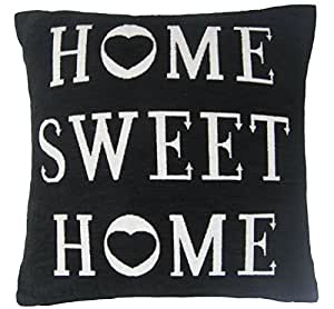 """HOME SWEET HOME HEART BLACK WHITE THICK CHENILLE PILLOW CUSHION COVER 18"""" - 45CM"""
