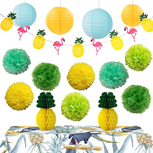 (InBy Hawaiian Luau Party Decoration Tropical Supplies Kit - Tissue Paper Pom Pom and Lantern, Pineapple Honeycomb Ball, Flamingos Pineapple Banner - Green, Yellow,)