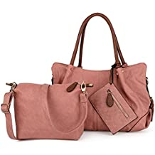 UTO Women Handbag Set 3 Pieces Bag PU Leather Tote Small Shoulder Purse Bags Wallet Strap