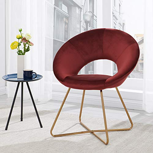 Modern Chair Velvet Chairs Waiting Room Accent Chairs with Golden Metal Frame Legs