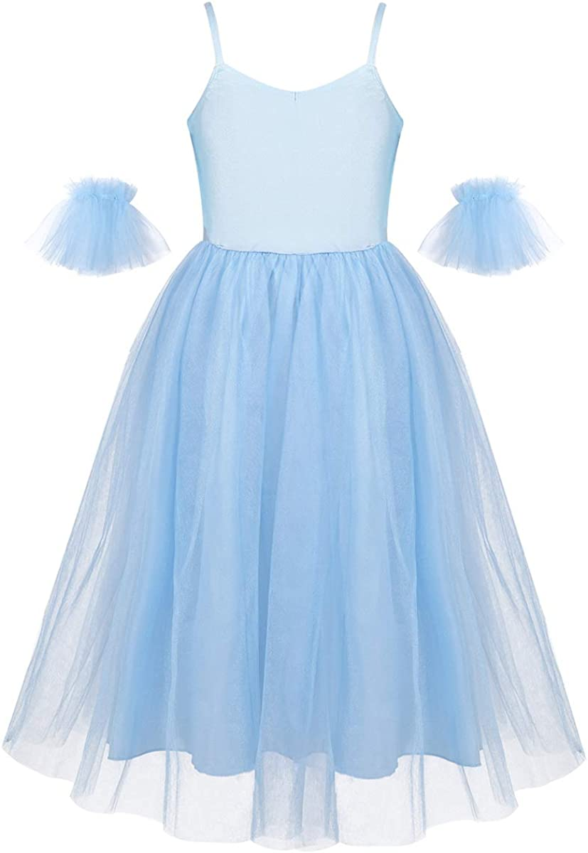 inhzoy Kids Girls Princess Ballet Dance Dress Romantic Style Long Tutu Skirts with Ruffled Arm Sleeves Set