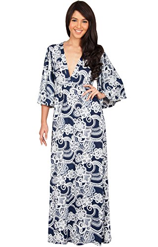 KOH KOH Women Long Kimono 3/4 Sleeve Sleeves V-Neck Floral Retro Print Flowy Summer Formal Maternity Sun Sundress Gown Gowns Maxi Dress Dresses, Navy Blue and White L 12-14 (2)