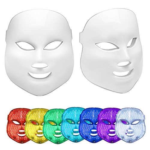 Luradon LED Skin Care Mask | Light Photon Skin Treatment for Anti-Aging, Anti-Wrinkle, Acne, Rosacea, Fine Lines, Collagen | 7 Color Light Therapy Face Care Mask | Secret to Flawless Skin & Beauty