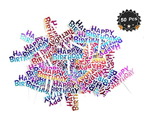 Warm party Colourful Happy Birthday Cupcake Picks Cake Toppers,Pack of 50