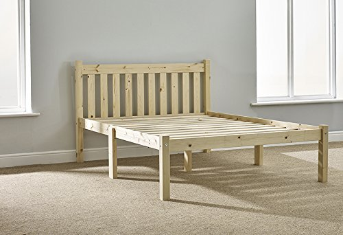STRONG Double pine bed 4ft 6 Double bed frame- Solid Pine. Complete with solid base slats and centre rail by Amelia Shaker Double Bed (Center Pine Complete)