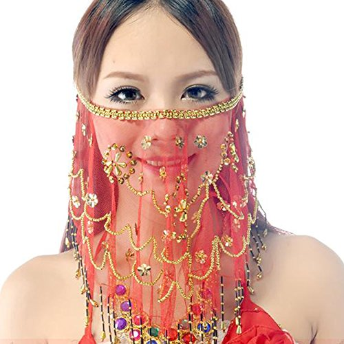 Wuchieal Women's Belly Dance Tribal Face Veil With Halloween Costume Accessory (Red)
