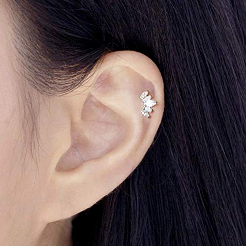 (ONE PIECE 16g(1.2mm) Piercing Tiny Princess Crown CZ and Fire Opal Stud Earring Cartilage Labret Tragus Piercing Handcrafted In USA Nickel FREE Lead Free)