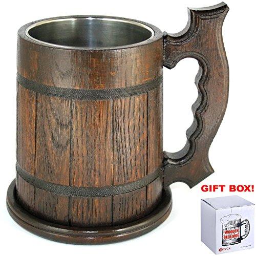 Wooden Beer Mug for Men/ Stein Beer Mug w/ Stainless Steel Cup inside 22 oz - Oak Medieval Retro style Tankard Mug - Beer lover Gifts (Brown Beer Mugs w/ coaster)