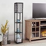 Modern Shelf Floor Lamp - Albrillo Floor Lamp with Shelves, Tall Standing Lamp for Living Room Bedroom Office, Hollow Pattern