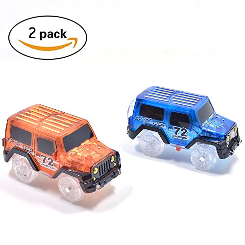 Replacement Light up Cars for Magic Tracks Cars Track Accessories Car Light-Up Toy Racing Car with 3 Flashing LED Lights Compatible with Most Tracks for Boys and Girls Gift(2 Pack)