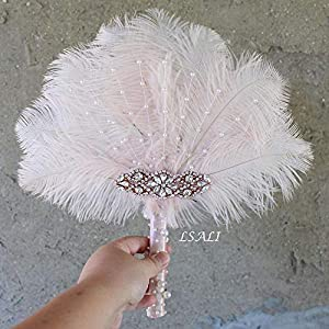 "LISALI 12"" Ostrich Feather Bouquet, Bridesmaid Vintage Brooch Bouquet, Fan Peacock Handfasting, 20s Pearl Feather Fan 43"