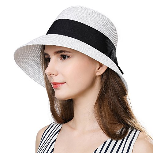 White Packable Wide Brim Womens Sun Hat Straw Summer Fedora Beach SPF Black Band Hat -