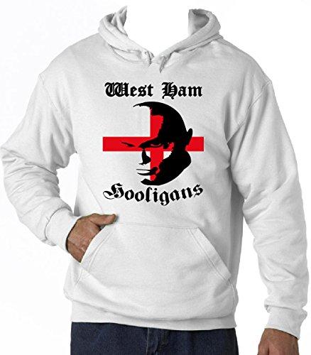 teesquare1st Men's WEST HAM Hooligans White Hoodie Size XXLarge (West Ham Hoodie)