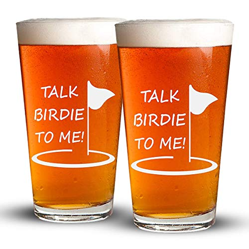 (Talk Birdie To Me - 2 Pack - Engraved Beer Glass - Golf Gift - Golfer Beer Glass - 16oz Clear Pint/Mixing Glass - Funny Gifts for Men and Women by Sandblast Creations )