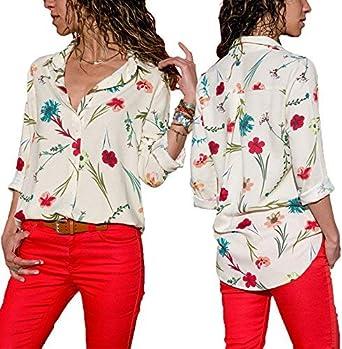Camisa Mujer Manga Larga Solapa De Floreadas Blusas Primavera Camisas Ropa Festiva Otoño Vintage Elegantes Moda Ocasional Anchos Camicia Bluse Tops: Amazon.es: Ropa y accesorios