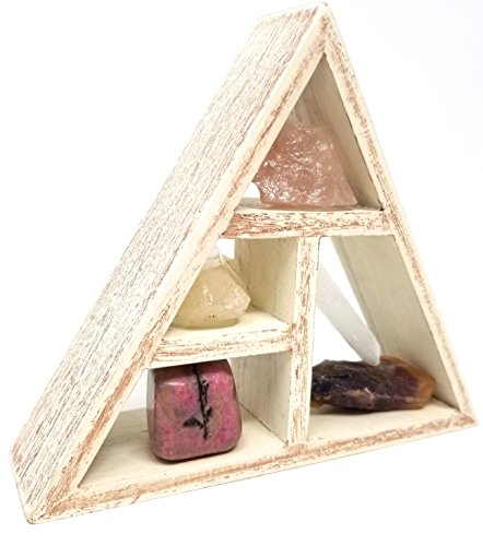HOPE & HEALING Crystal Set / Natural Energy Tumbled Stones and Geometric Triangle Display Shelf Home Decor Decorating Kit