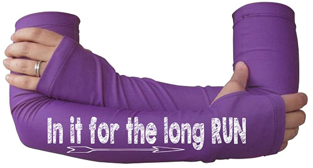 Compression Sleeves for Runners with Thumbholes Running Arm Warmer for Women in it for The Long Run