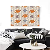 "Football Modern Canvas Painting Wall Art Faded Stars and Stripes with Classical Sports Symbols USA Retro Tile Art Stickers 20""x16"" Orange Mauve Slate Blue"