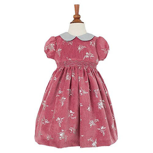 Baby Girl's Hand Smocked Holiday Dress - Old Rose Velvet, 3M