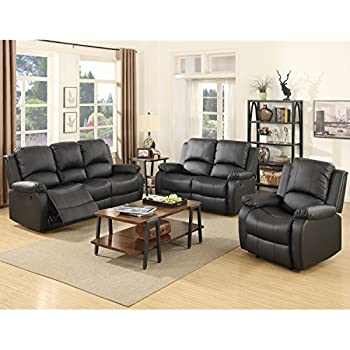 SUNCOO 3 Piece Bonded Leather Recliner Sofa Set Loveseat Chair Living Room Furniture Black