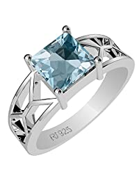 1.15ctw Genuine Blue Topaz Square & Solid .925 Sterling Silver Rings