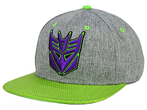 Bioworld Transformers Decepticon Men's Shiny Visor Snapback Hat Cap - Grey/Purple/Green