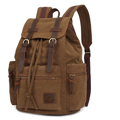 College Men's Casual Shoulder Personalized Outdoor Bag Canvas 16 Hiking Backpack Inch Khaki Travel wqC1nzgT