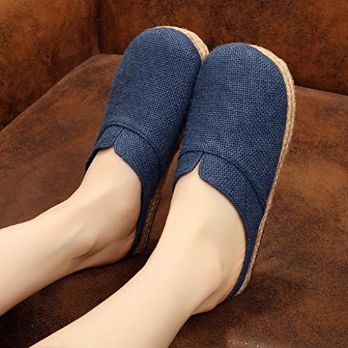 DM&Y 2017 Sra zapatos de lino nacional de viento zapatillas de c¨¢?amo salvaje transpirable zapatos casuales Baotou Sen verano navy blue