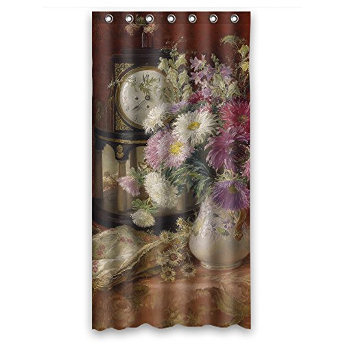 Cosbudy Classic Still Life Art Painting Polyester Bathroom Curtains Width X Height / 36 X 72 Inches / W H 90 By 180 Cm For Gf Father Artwork Relatives Teens. Rust Proof. Fabric - Bed Oval Terry