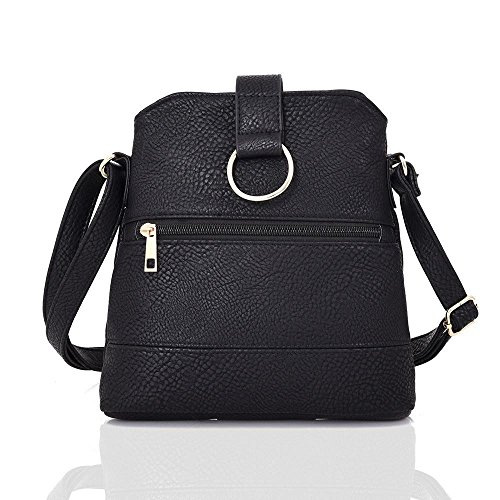 Fashion Ladies Messenger Black Soft Bag Handbag Crossbody Look Leather xawYa1qI