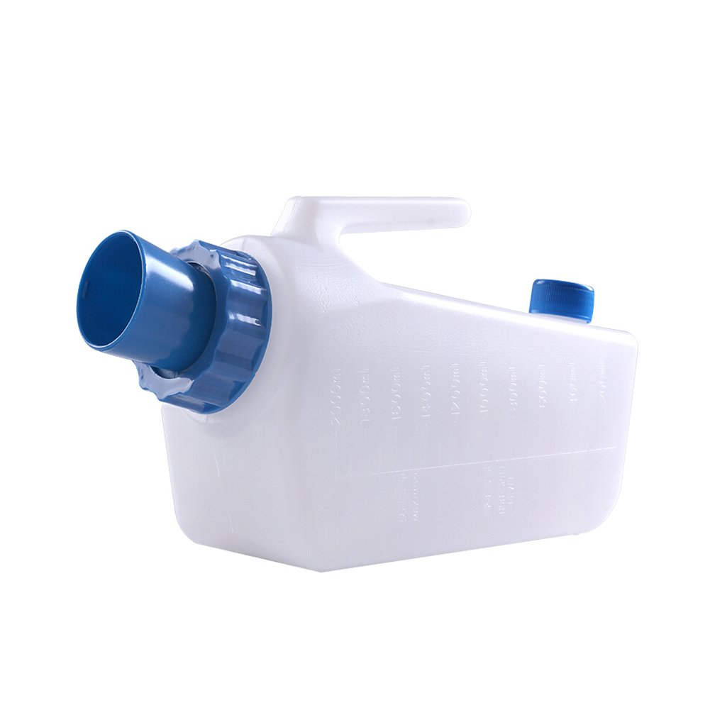 Plastic Male Urinal with Spill-proof Function, Capacity 2000 ml,White and Blue by MIURI