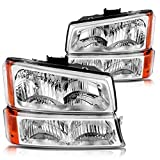 Headlight Assembly Kit, Headlamps Replacement for 03 04 05 06 Chevy Avalanche/03 04 05 06 07 Chevy Silverado 1500HD/03 04 05 06 Chevy Silverado 2500HD, Chromed Housing with Front Signal Light