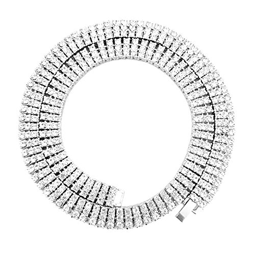 Hip Hop Diamond Necklaces - HH Bling Empire Unisex Iced Out Hip Hop Gold Artificial Diamond cz Tennis Chain 20 24 30 Inches (3 Row-Silver-24)