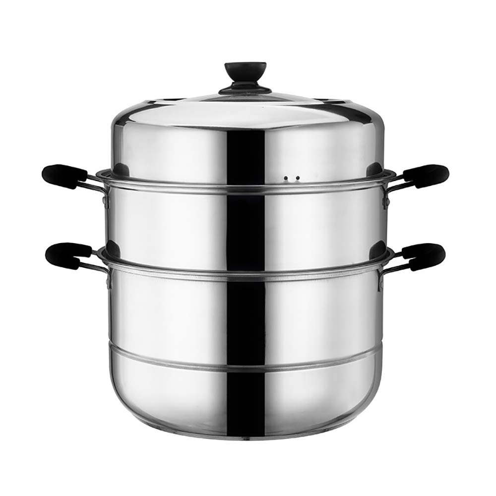 JIANGU Steamer Pans with Glass Lid and Polished Mirror Finish, Stainless Steel 3-Tier Food Stock Pot-28cm