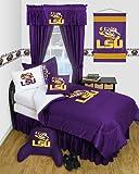 LSU Tigers 8 Pc QUEEN Comforter Set - Locker Room Series - Entire Set Includes: (1 Comforter, 1 Flat Sheet, 1 Fitted Sheet, 2 Pillow Cases, 2 Shams, 1 Bedskirt) SAVE BIG ON BUNDLING!