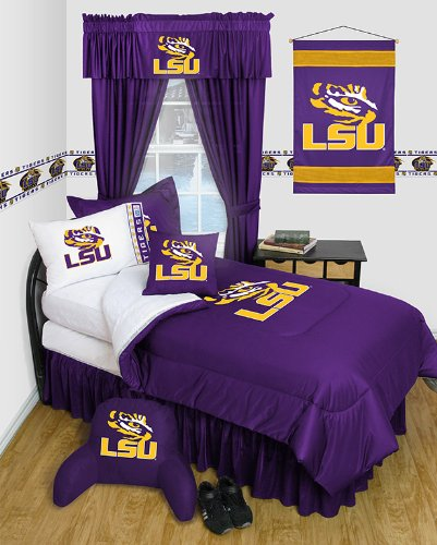 LSU Tigers 8 Pc QUEEN Comforter Set - Locker Room Series - Entire Set Includes: (1 Comforter, 1 Flat Sheet, 1 Fitted Sheet, 2 Pillow Cases, 2 Shams, 1 Bedskirt) SAVE BIG ON BUNDLING! by Sports Coverage