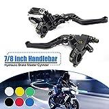"PLSUS 7/8""(22mm) Universal Motorcycle Adjustable Handlebar Brake & Clutch Master Cylinder Levers Left & Right Set for Harley Honda Kawasaki Suzuki Yamaha"