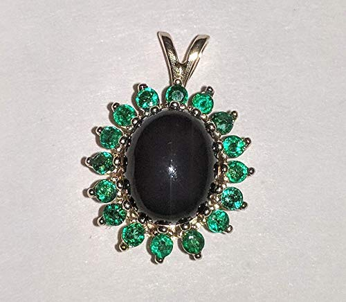 Natural Onyx and Emerald Cluster Halo Pendant with - Jd Pendant
