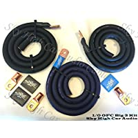 Sky High Oversized 1/0 Gauge OFC AWG Big 3 Upgrade BLUE/BLACK Electrical Wiring