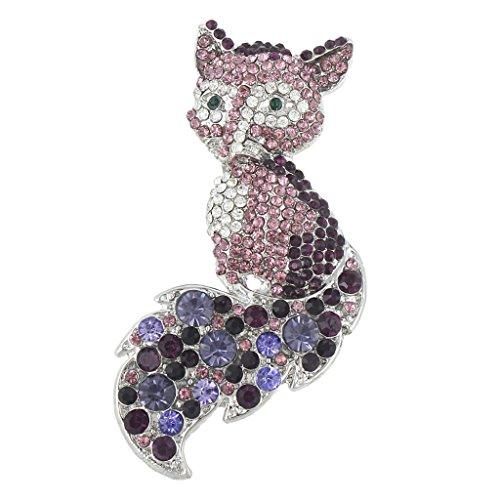 EVER FAITH Women's Austrian Crystal Adorable Animal Fox Brooch Pin Purple Silver-Tone