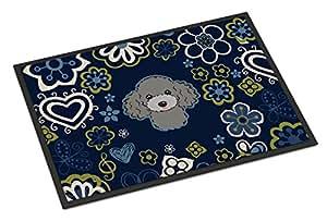 Azul flores gris plata caniche interior o al aire libre estera 24x 36bb5110jmat