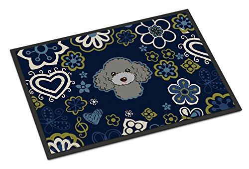 Blue Flowers Silver Gray Poodle Indoor or Outdoor Mat 24x36 BB5110JMAT (Poodle Door Mat)