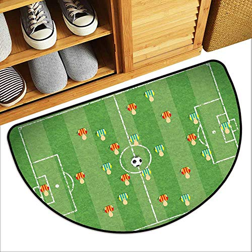 DILITECK Semicircular Door mat Soccer Soccer Formation Tactic Illustration Goalkeeper Strikers and Defenders Match Pattern Durable W24 xL16 Multicolor