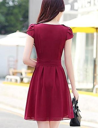 LYQ  De las mujeres Tallas Grandes Vestido Casual   Bonito Un Color Sobre  la rodilla Escote Redondo Raso  839c8e9a3c2